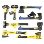 Five unused hand axes and 3 lump hammers by ROUGHNECK & WICKES F