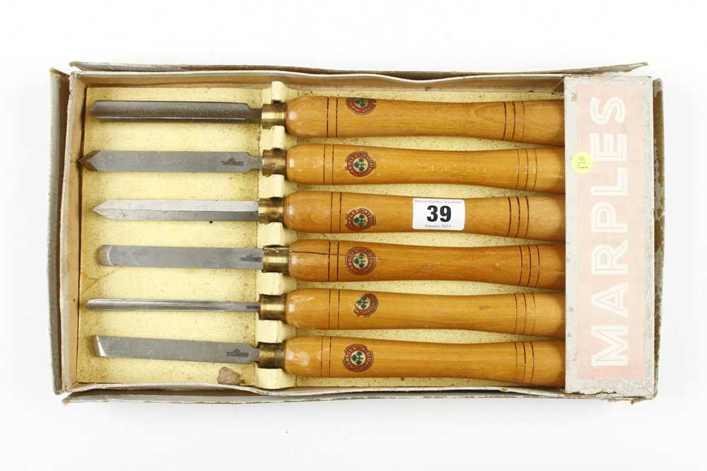 A little used set of 6 turning tools by MARPLES with beech handles in tatty box, one handle