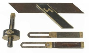 An ebony and brass mortice gauge, a mitre square and two bevels G