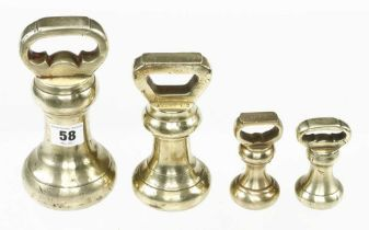Four brass bell weights 2 x 1 lb, 4 lb and 7 lb G+