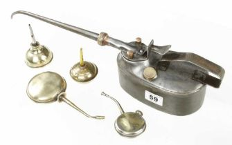 A WESTCO patent pump oilcan and four small brass oilcans G