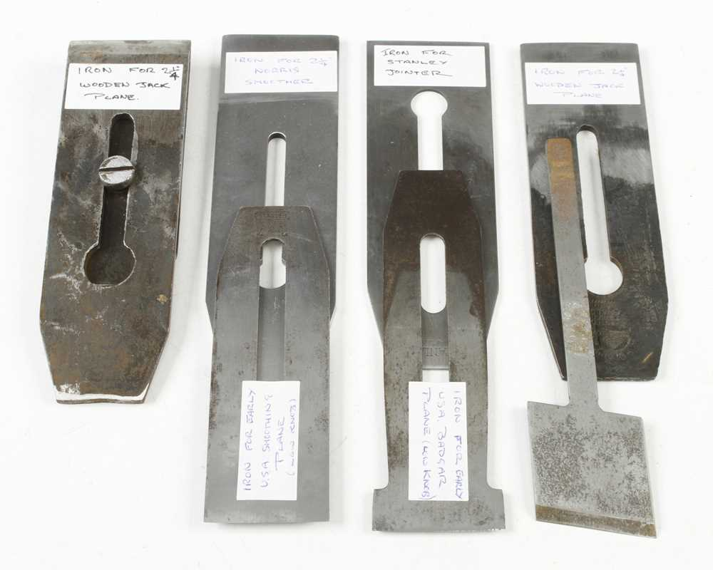 Three USA STANLEY plane irons and four others G+