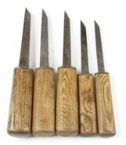 """A graduated set of four mortice chisels by ISAAC GREAVES and another 1/8"""" to 9/16"""" G+"""