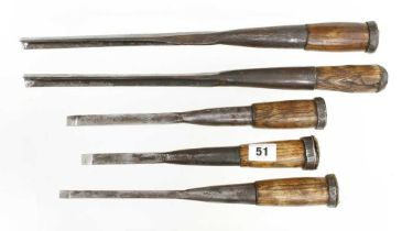 Three socketed mortice chisels and two socketed bruzz G+