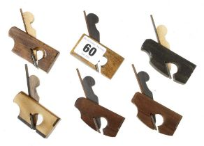"""Six contemporary miniature stair rail planes in variety of exotic wood 2 1/8"""" - 2 5/8"""" long G++"""