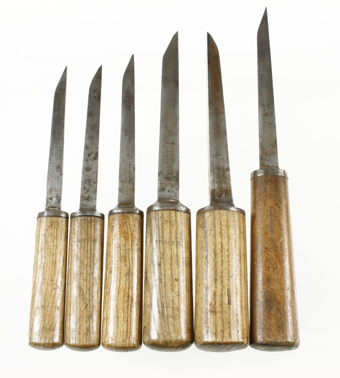 """Six mortice chisels 3/16"""" to 3/4"""" G+"""