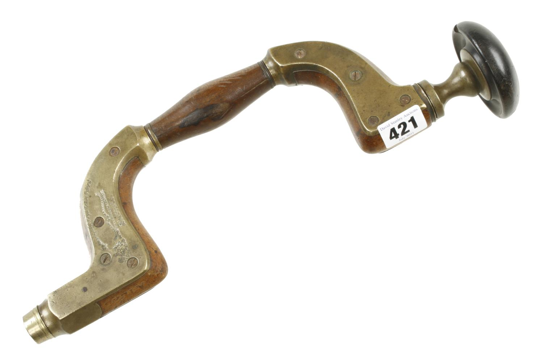 An Ultimatum brass framed beech brace by MARPLES with brass disc in ebony head G+
