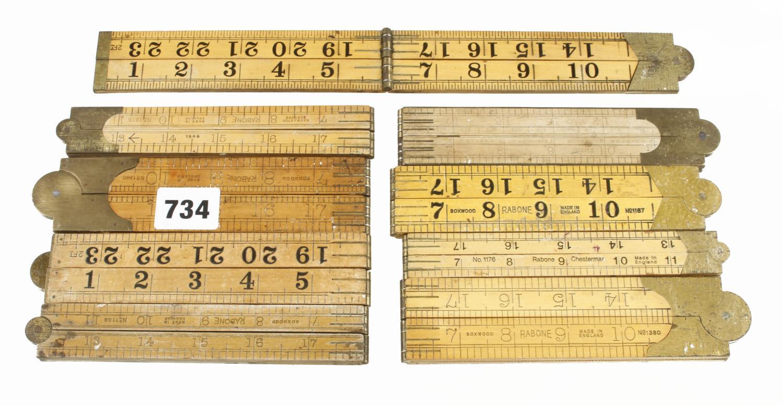 Nine 2' four fold boxwood rules G