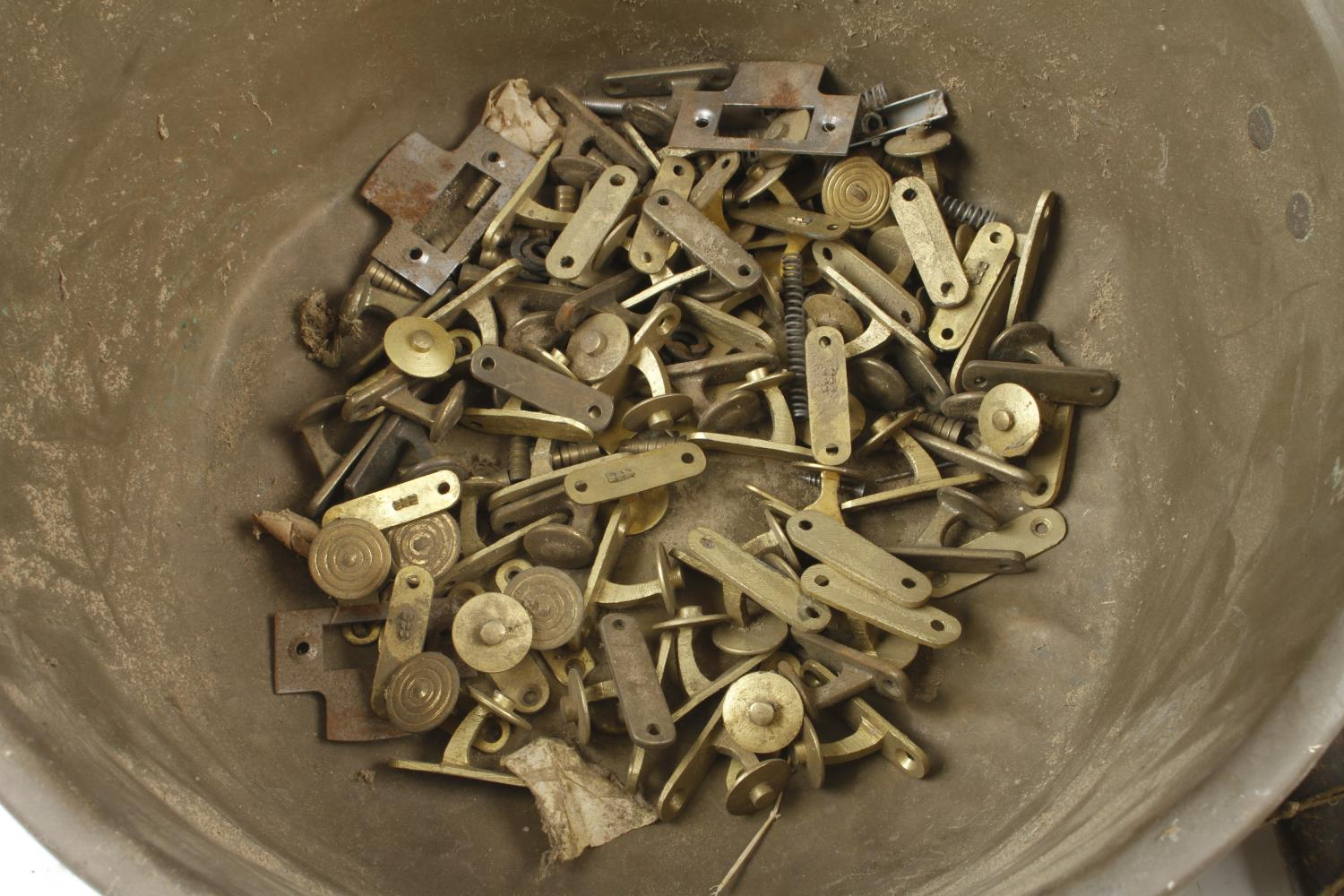 A brass jam pan and an old clock G- - Image 3 of 3