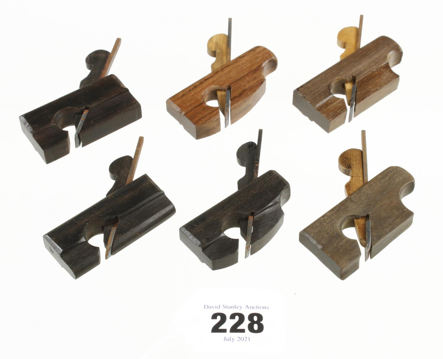 """Six contemporary miniature stair rail planes in a variety of woods 2 1/8"""" to 2 5/8"""" G++"""