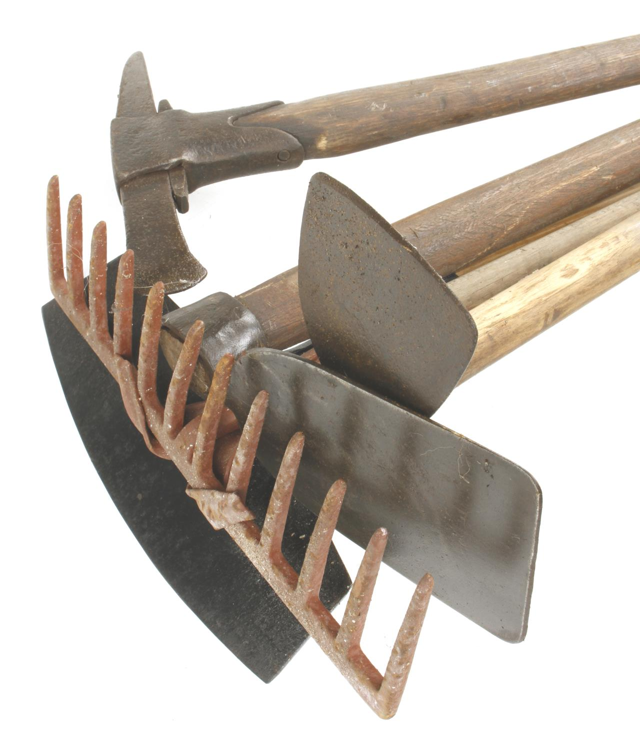 A rake, hoe and 3 other tools G - Image 2 of 3