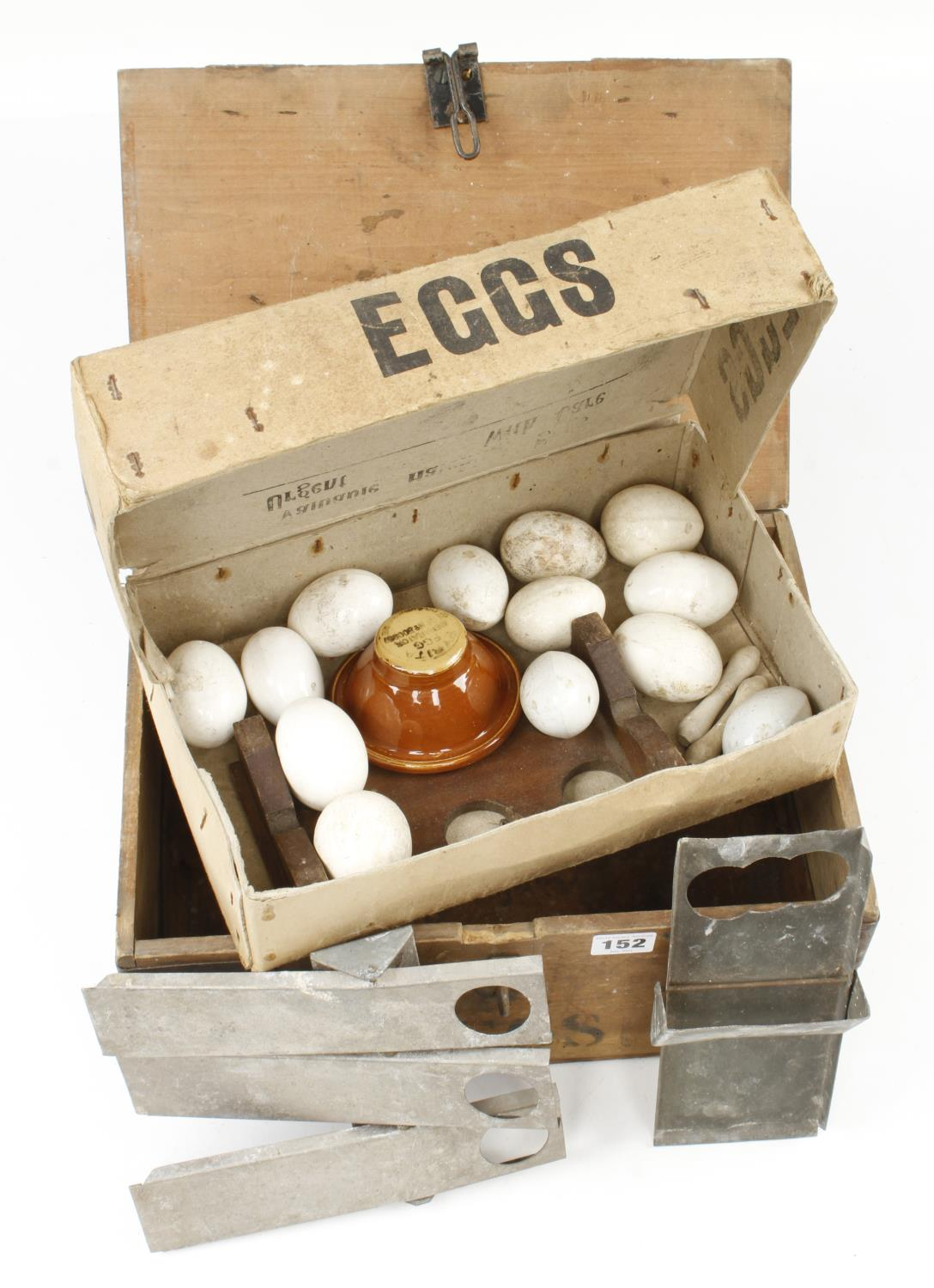 13 clay eggs in card box marked 'Hatching Eggs' G