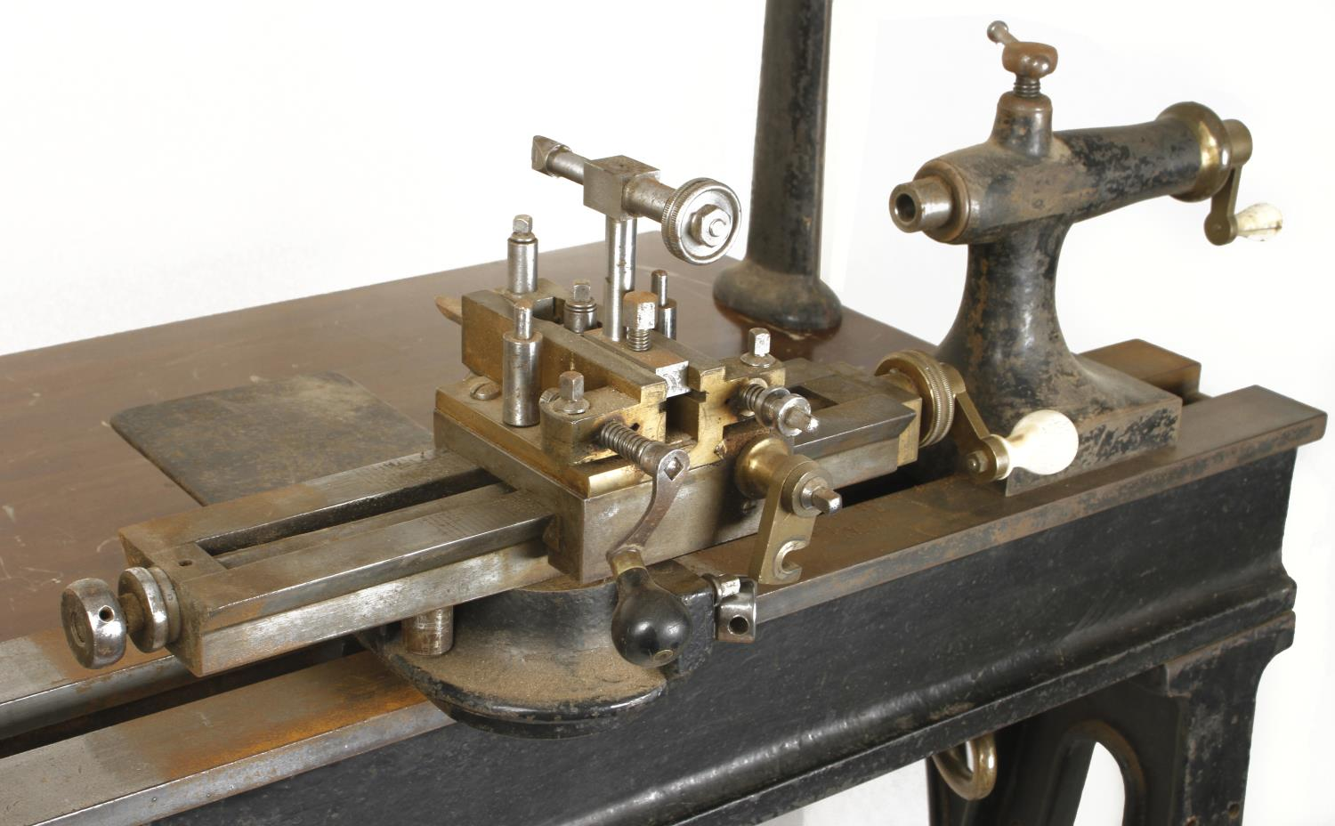 """An ornamental turning treadle lathe by MELHUISH London with overhead gear and 48"""" bed complete - Image 4 of 11"""