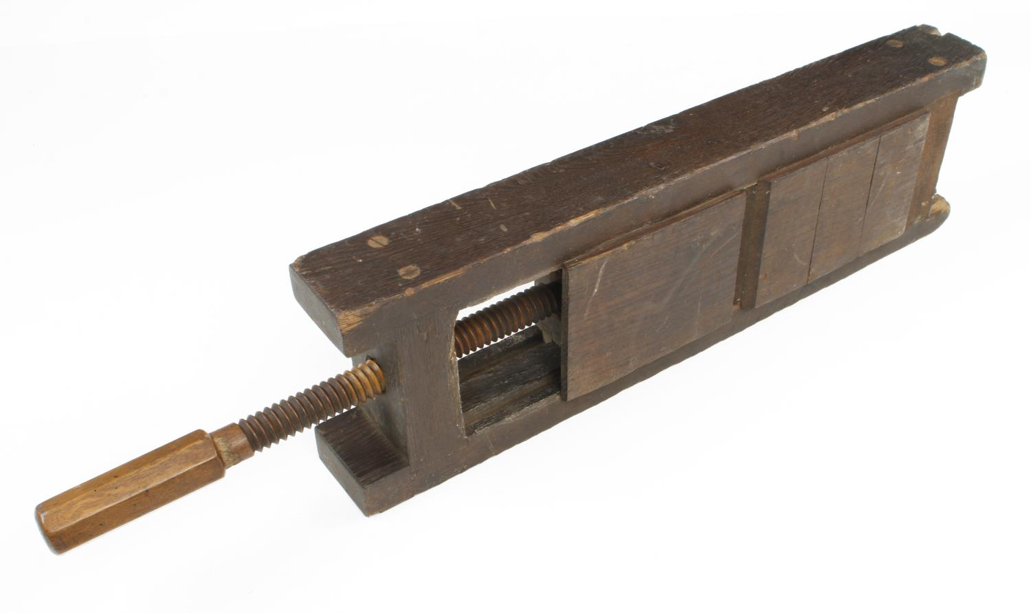 An unusual 'triple' mitre cramp/chop with mahogany screw 3' o/a G - Image 2 of 3