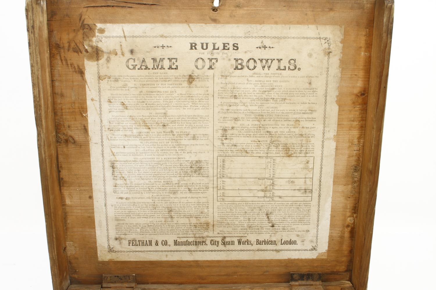 Two sets of lawn bowls in pine box with orig rules the makers label with FELTHAM & Co inside the lid - Image 2 of 3