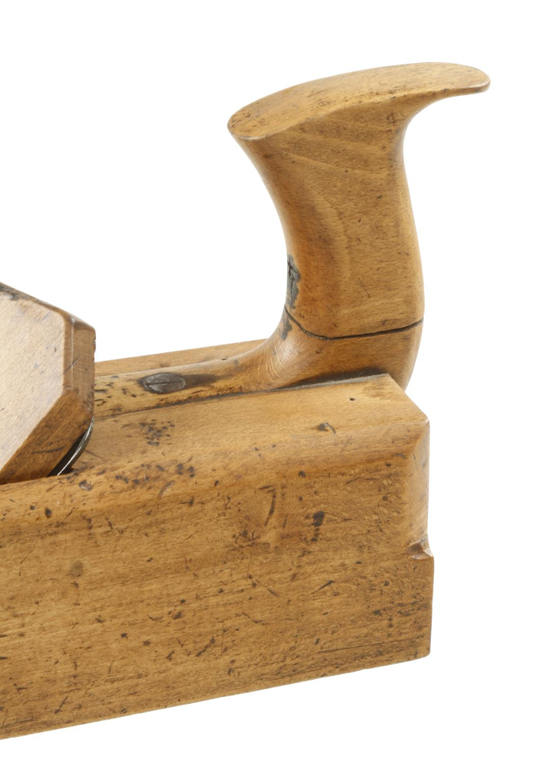 """An early 11"""" unnamed beech badger plane with offset cracked handle, the round topped iron with Crown - Image 3 of 4"""