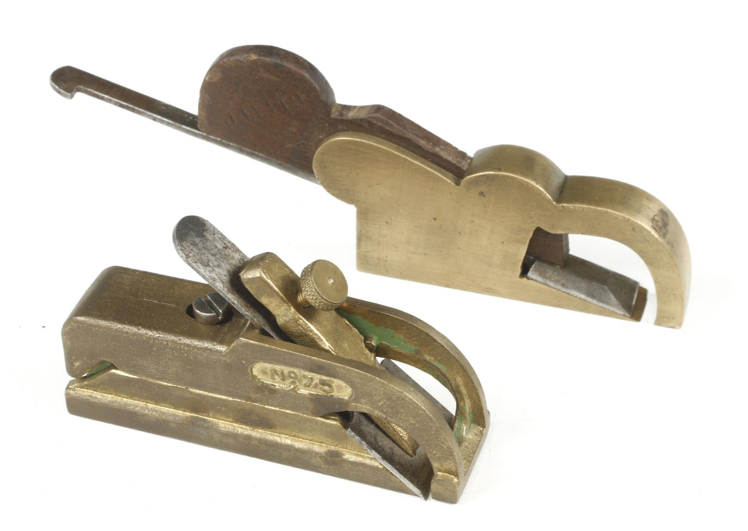 """A brass bullnose plane by PATSY and a brass rebate plane 3 1/4"""" x 1/2"""" with wide mouth G - Image 2 of 3"""