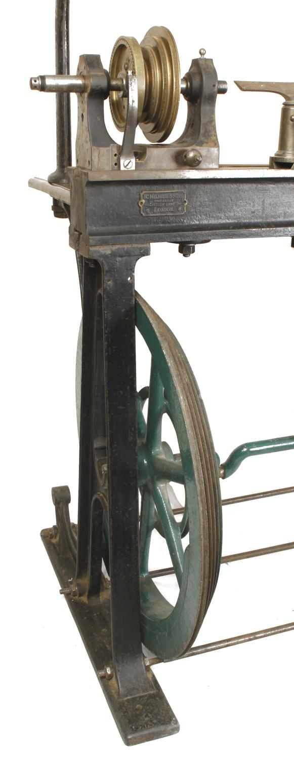 """An ornamental turning treadle lathe by MELHUISH London with overhead gear and 48"""" bed complete - Image 7 of 11"""