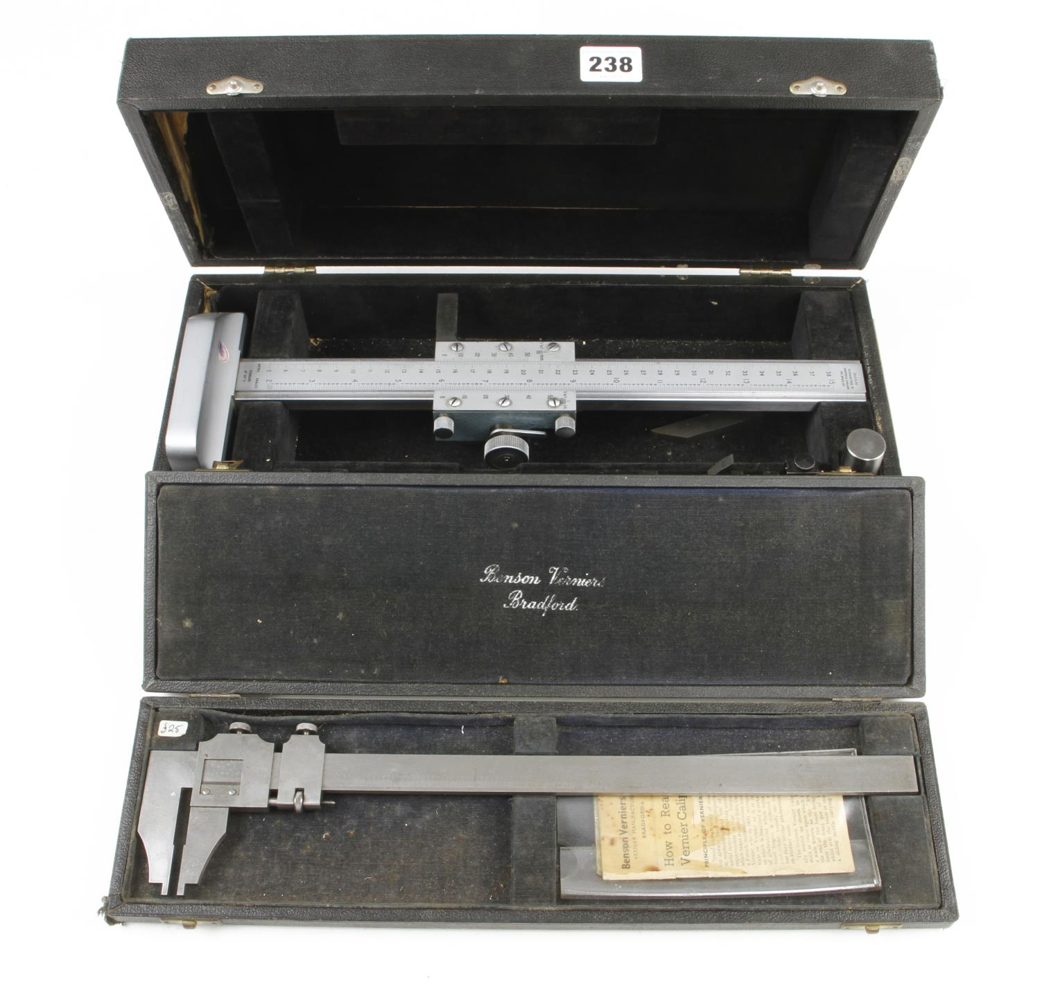 """An engineers 15"""" height gauge by SHARDLOW and a 12"""" vernier gauge by BENSON both in orig boxes G+"""