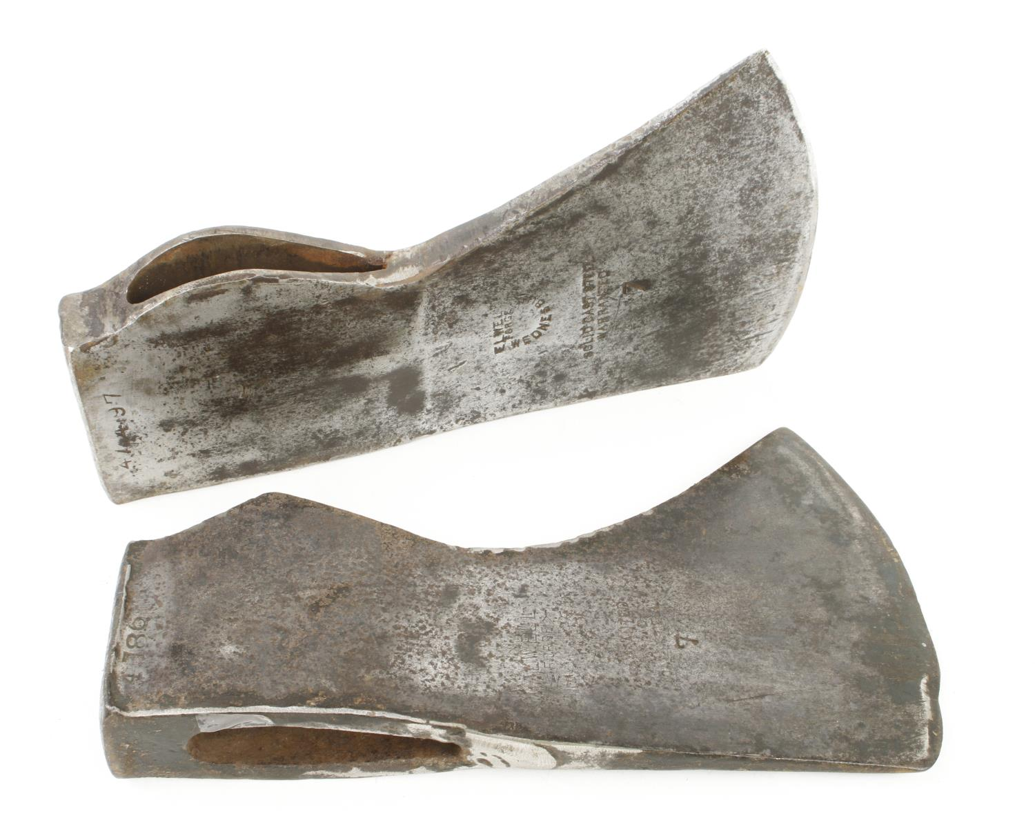 Two axe heads with good welded repair G
