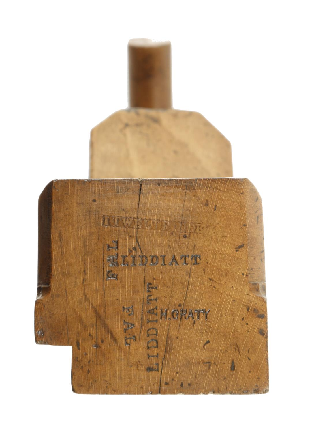 """An early 11"""" unnamed beech badger plane with offset cracked handle, the round topped iron with Crown - Image 2 of 4"""