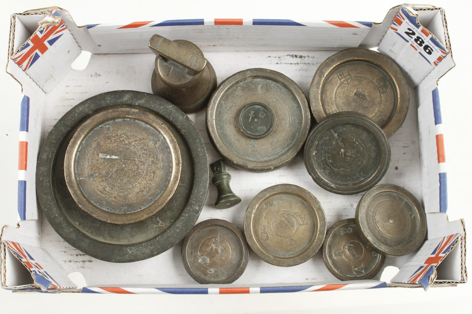 Ten various trade weights 1/2 oz to 1 lb with George1 to William 1V marks G