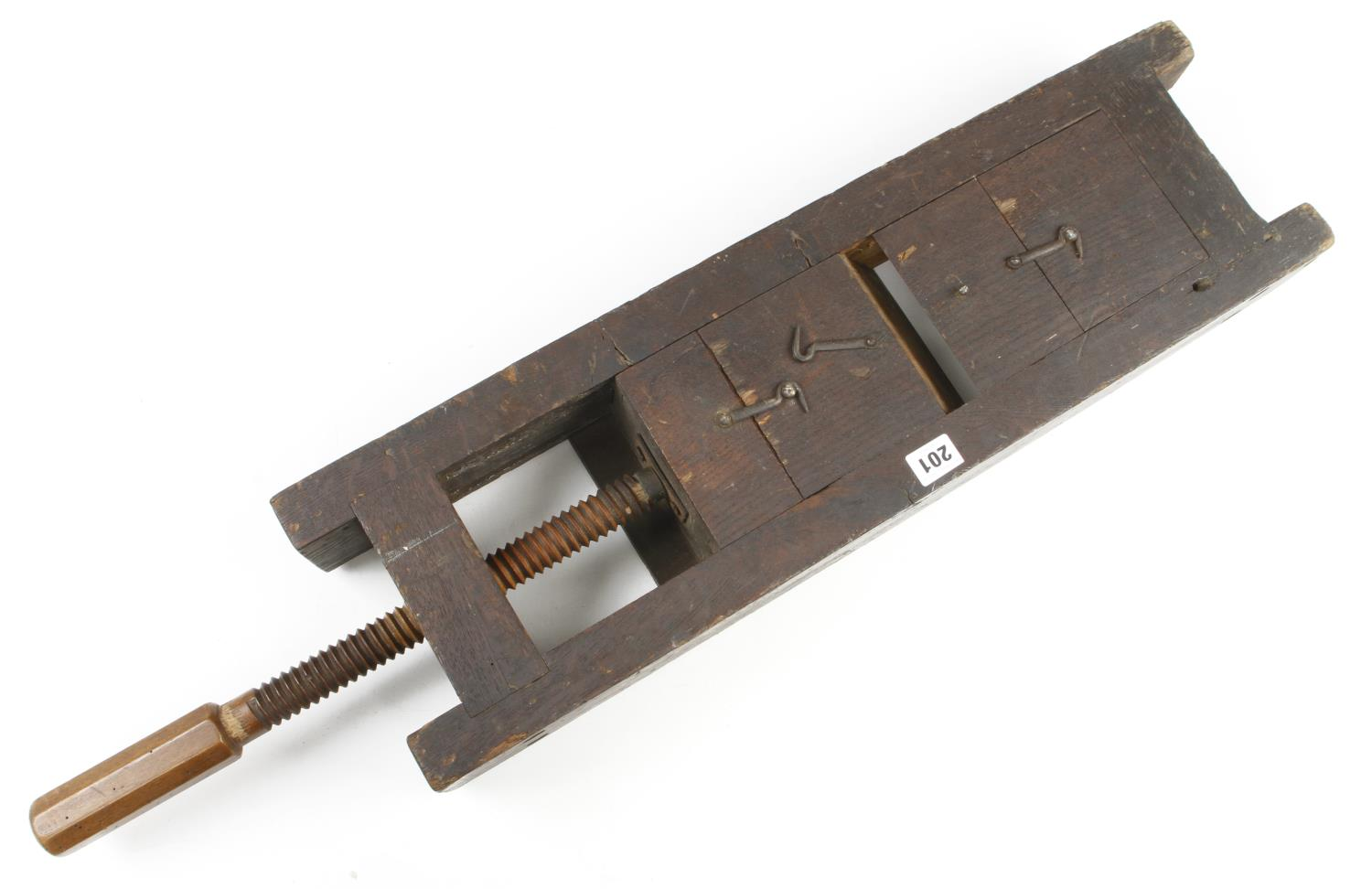 An unusual 'triple' mitre cramp/chop with mahogany screw 3' o/a G - Image 3 of 3
