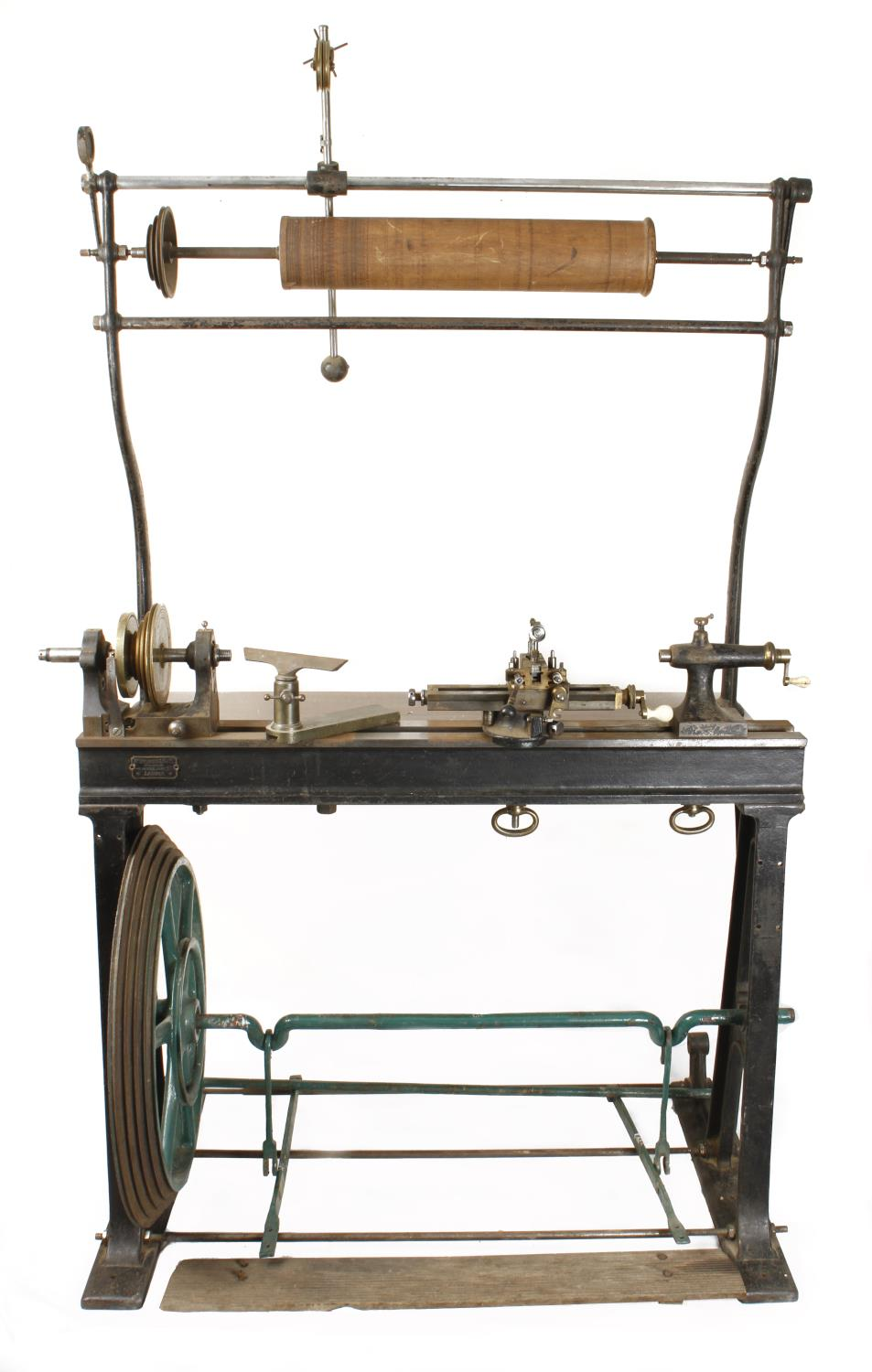 """An ornamental turning treadle lathe by MELHUISH London with overhead gear and 48"""" bed complete"""