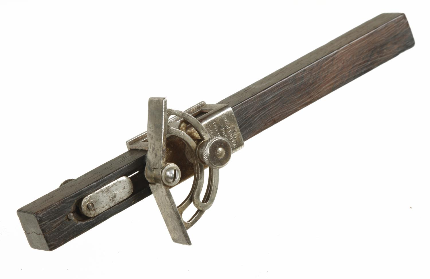 An unusual WINSLOW'S Patent Adjustable Face Gauge (crack to rosewood stem) G