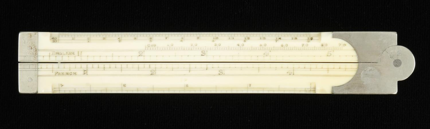 """An unusual 12"""" two fold architects bevel edged ivory rule marked French, English and Chords with"""