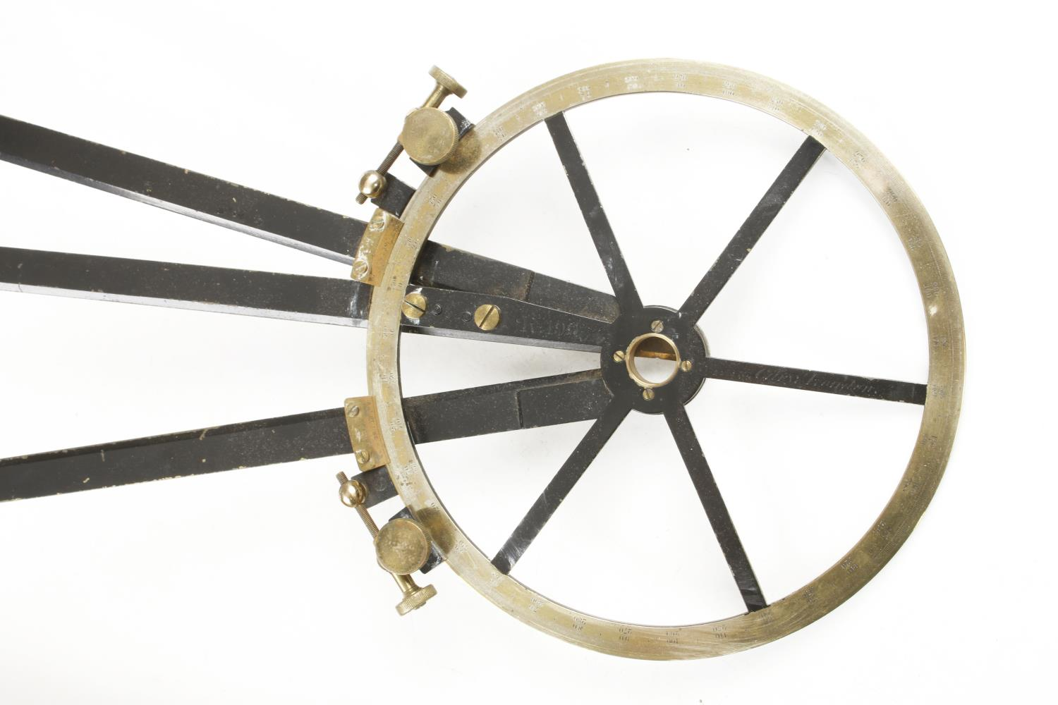 A lacquered brass course indicator by CARY London No R199 with extensions in orig box G+ - Image 2 of 3