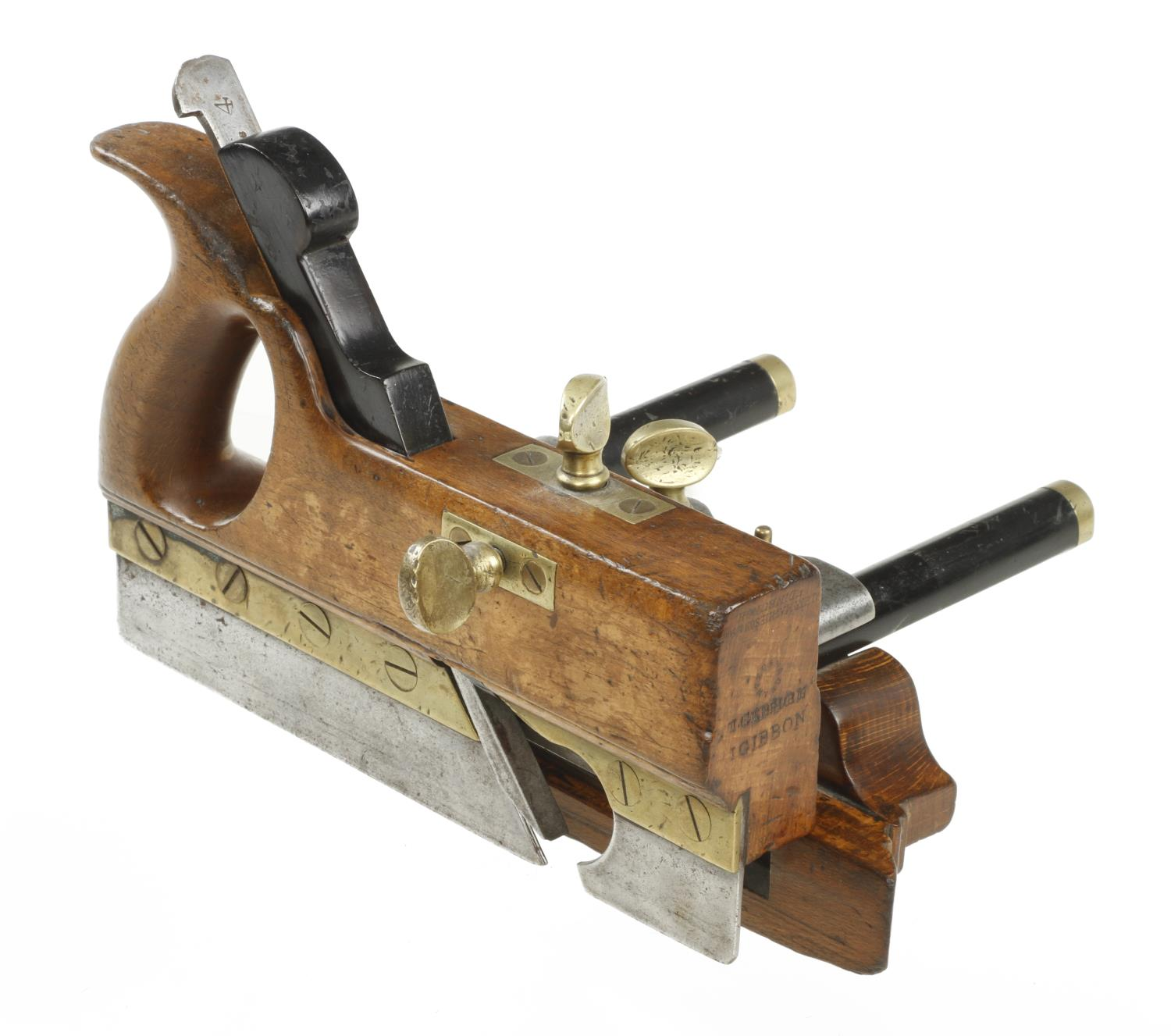 A MATHIESON No 11 handled bridle plough with ebony stems and probably replaced ebony wedge G+ - Image 3 of 3