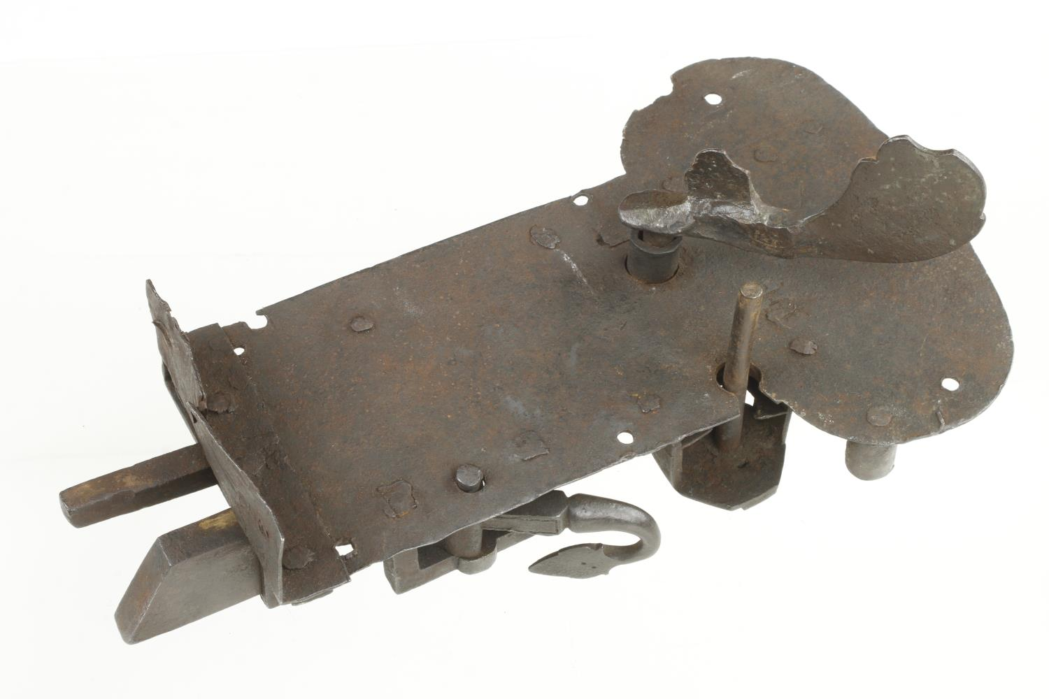 """A 17c iron cabinet or door lock 12"""" x 7"""" museum quality G - Image 3 of 4"""