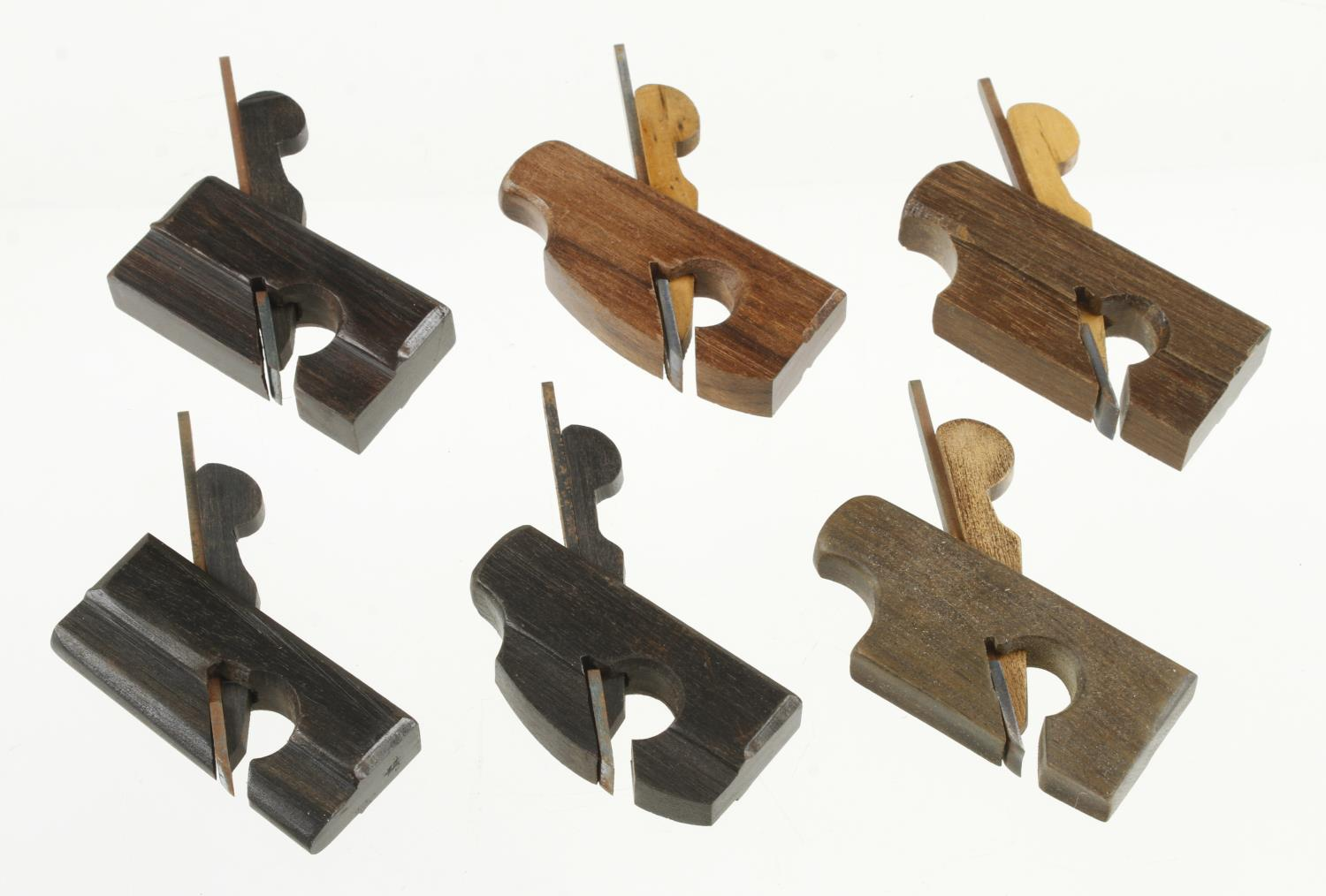 """Six contemporary miniature stair rail planes in a variety of woods 2 1/8"""" to 2 5/8"""" G++ - Image 2 of 2"""