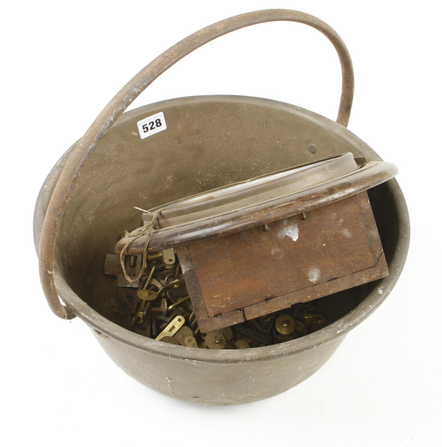 A brass jam pan and an old clock G- - Image 2 of 3