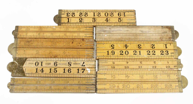 Nine 2' four fold boxwood rules G - Image 2 of 2