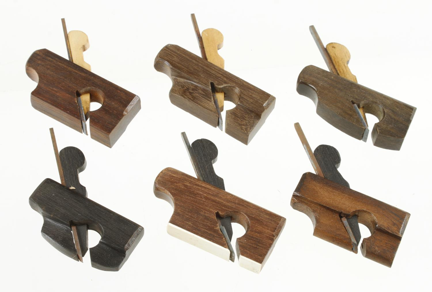 """Six contemporary miniature stair rail planes in a variety of exotic woods 2 1/8"""" to 2 5/8"""" G++ - Image 2 of 2"""