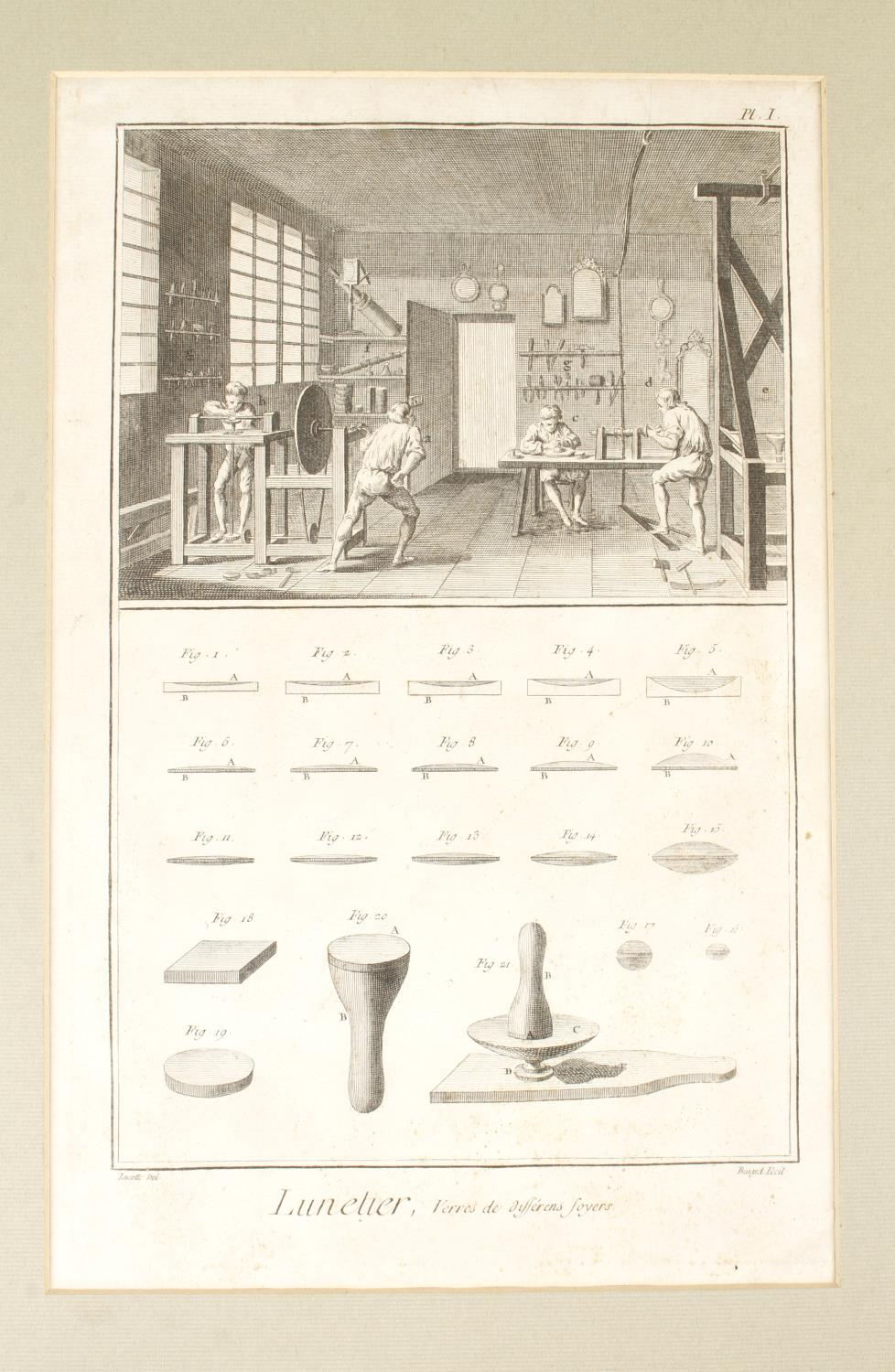 """Five early French framed plates 14"""" x 9"""" by LUNETIER also marked Bernard Fecit, lacks one glass G ( - Image 3 of 5"""