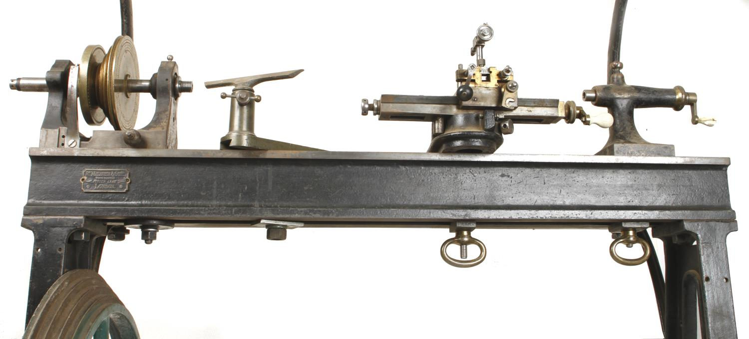 """An ornamental turning treadle lathe by MELHUISH London with overhead gear and 48"""" bed complete - Image 3 of 11"""