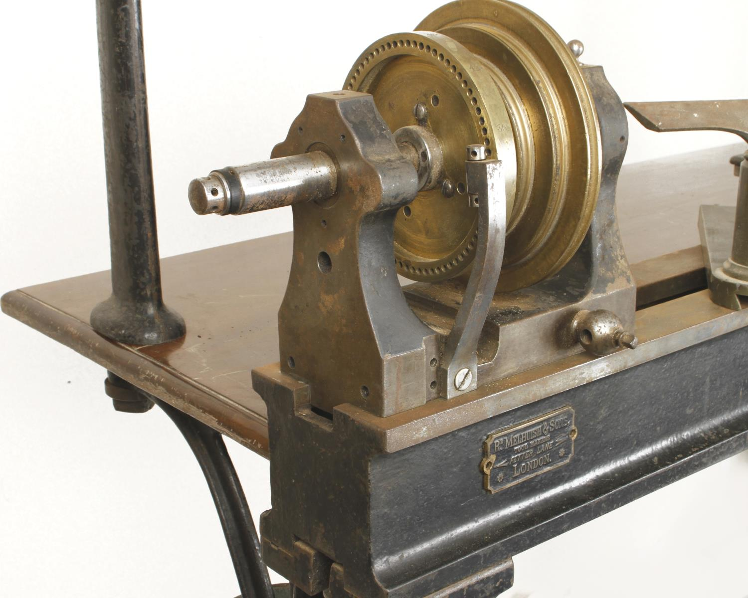 """An ornamental turning treadle lathe by MELHUISH London with overhead gear and 48"""" bed complete - Image 6 of 11"""