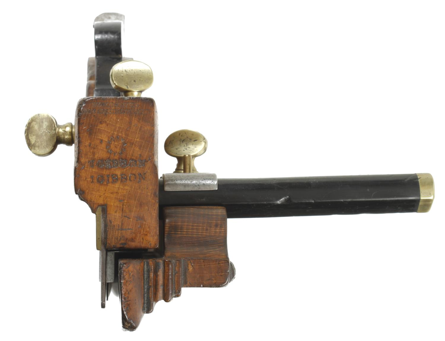 A MATHIESON No 11 handled bridle plough with ebony stems and probably replaced ebony wedge G+ - Image 2 of 3