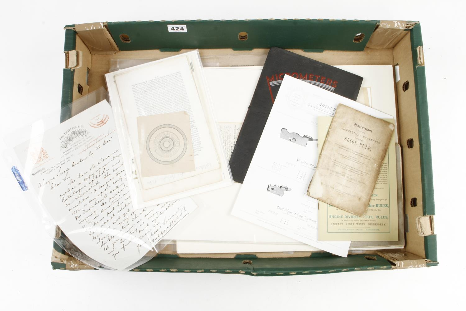 Various ephemera inc. a 1903 letter from HOLTZAPFFEL, catalogue by NURSE etc G - Image 2 of 2