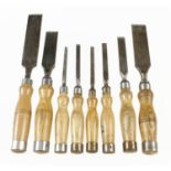 Eight chisels with hooped handles G