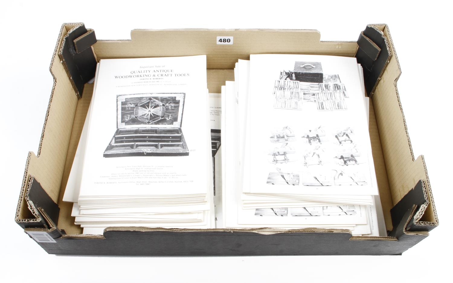 A huge quantity of Tyrone Roberts auction catalogues, many duplicates in 5 boxes (not for mailing) G