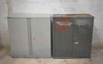 Two double door steel cupboards with shelves