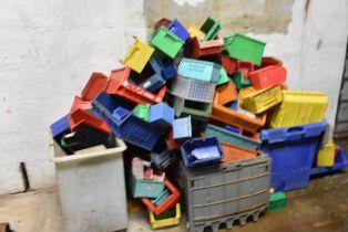 Quantity of assorted plastic storage bins