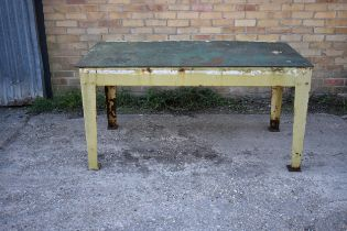 "A heavy duty metal table/bench 62"" x 34"""
