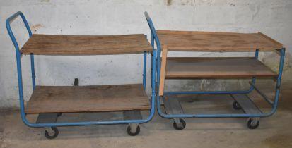 Two four wheel trolleys