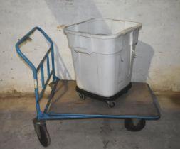 A 4 wheel trolley and a plastic bin on wheels
