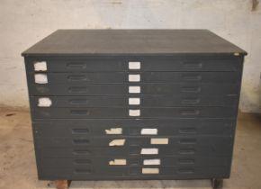 A ten drawer plan chest ex Ordnance Survey